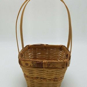 Small Square Vintage Woven Basket Wicker Fixed Han